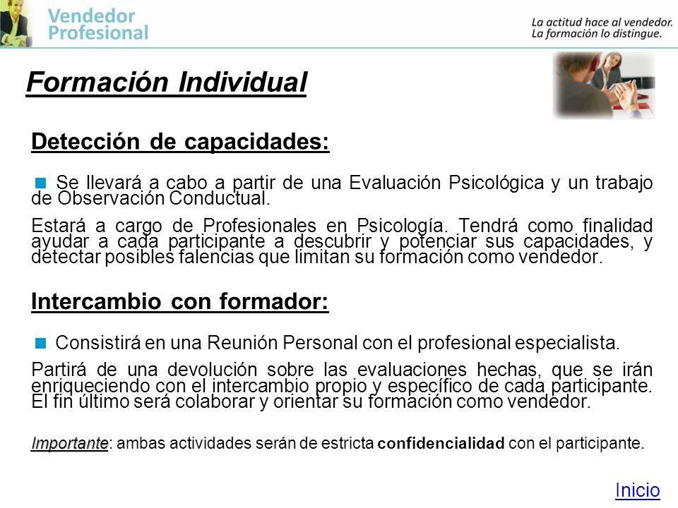 Formación Individual Detección de capacidades: Se llevará a cabo a partir de una Evaluación Psicológica y un trabajo de Observación Conductual.