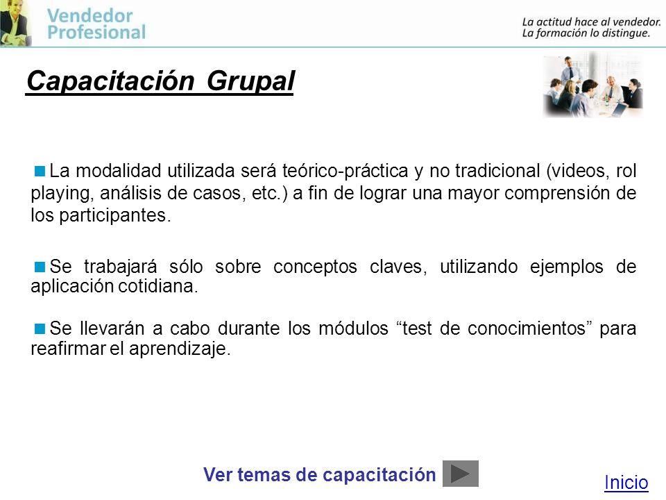 Capacitación Grupal La modalidad utilizada será teórico-práctica y no tradicional (videos, rol playing, análisis de casos, etc.) a fin de lograr una mayor comprensión de los participantes.