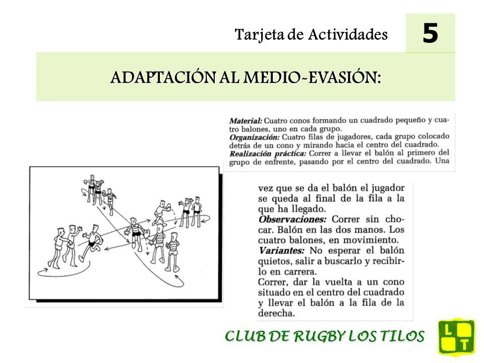 Tarjeta de Actividades ADAPTACIÓN AL MEDIO-EVASIÓN: 5 CLUB DE RUGBY LOS TILOS