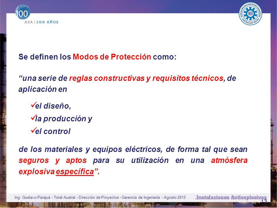 13 Se definen los Modos de Protección como: de los materiales y equipos eléctricos, de forma tal que sean seguros y aptos para su utilización en una atmósfera explosiva específica.