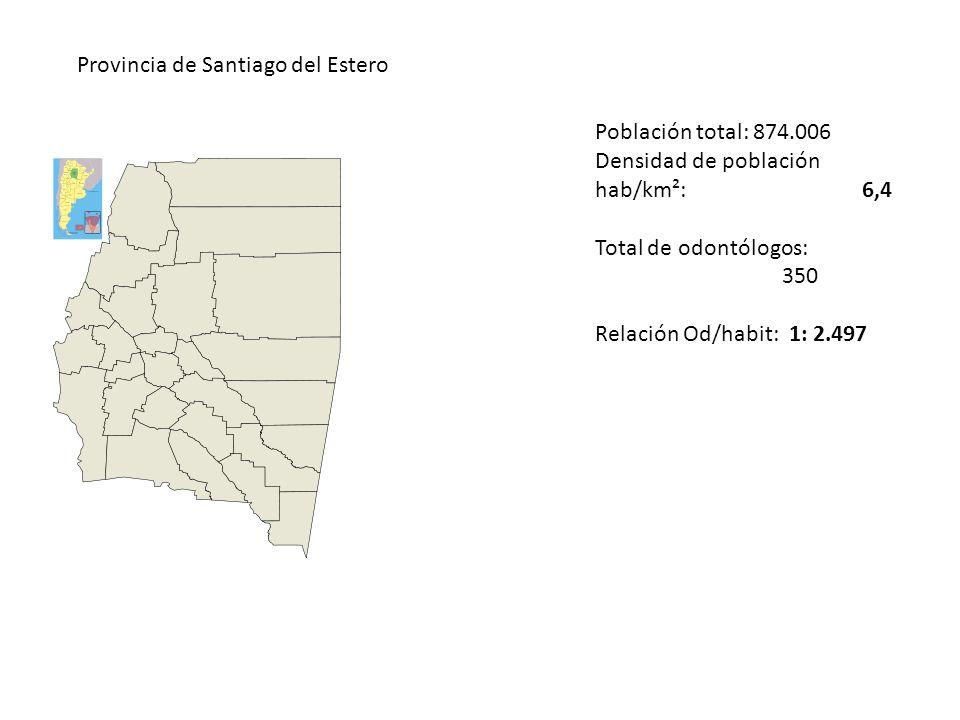 Provincia de Santiago del Estero Población total: 874.006 Densidad de población hab/km²: 6,4 Total de odontólogos: 350 Relación Od/habit: 1: 2.497