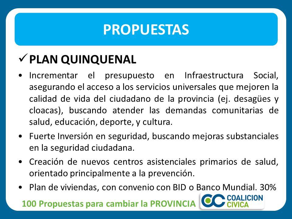 PLAN QUINQUENAL Incrementar el presupuesto en Infraestructura Social, asegurando el acceso a los servicios universales que mejoren la calidad de vida del ciudadano de la provincia (ej.