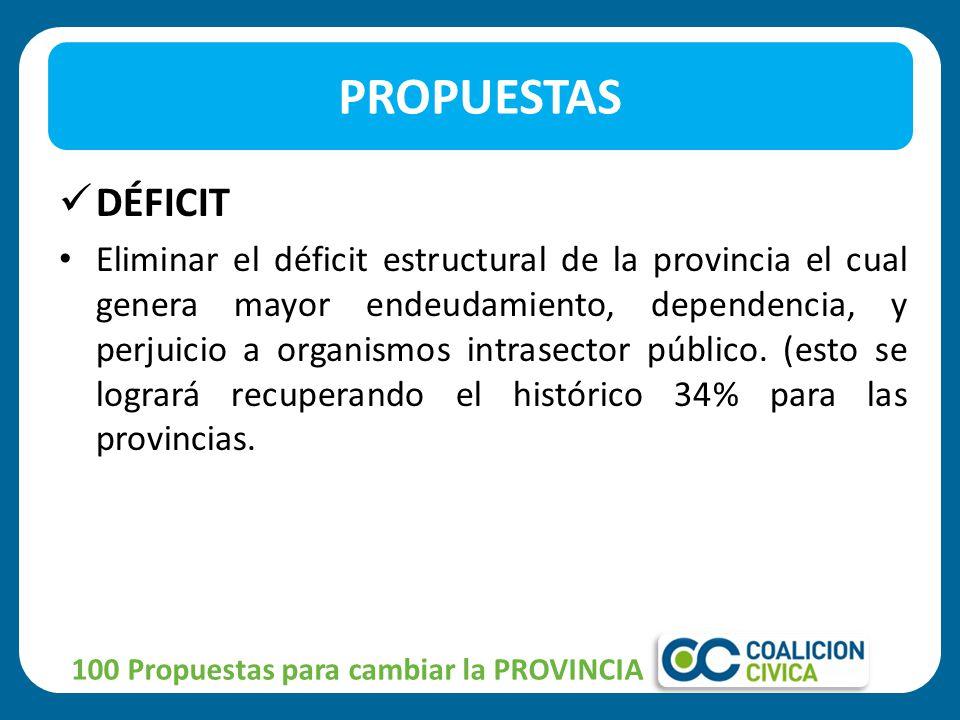 DÉFICIT Eliminar el déficit estructural de la provincia el cual genera mayor endeudamiento, dependencia, y perjuicio a organismos intrasector público.