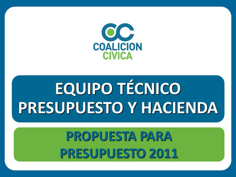 EQUIPO TÉCNICO PRESUPUESTO Y HACIENDA PROPUESTA PARA PRESUPUESTO 2011