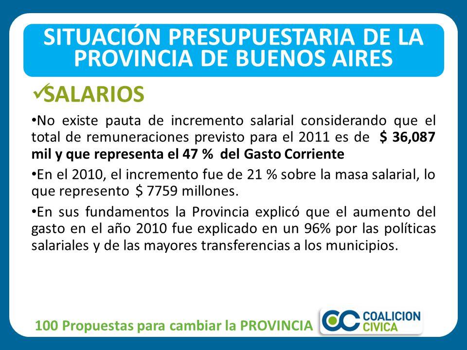 SALARIOS No existe pauta de incremento salarial considerando que el total de remuneraciones previsto para el 2011 es de $ 36,087 mil y que representa el 47 % del Gasto Corriente En el 2010, el incremento fue de 21 % sobre la masa salarial, lo que represento $ 7759 millones.