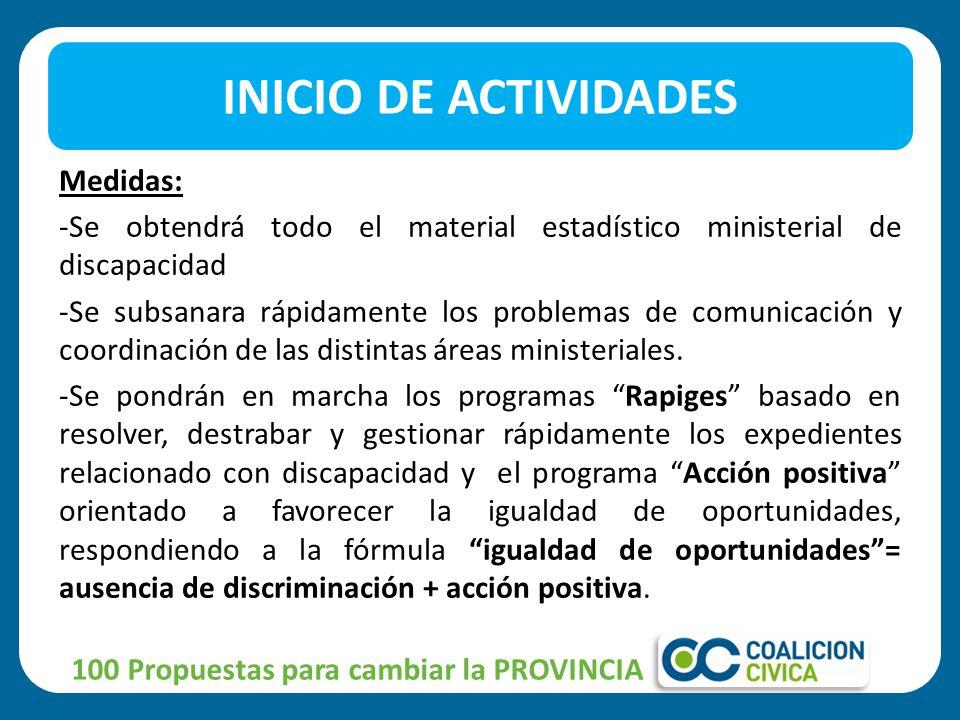 Medidas: -Se obtendrá todo el material estadístico ministerial de discapacidad -Se subsanara rápidamente los problemas de comunicación y coordinación