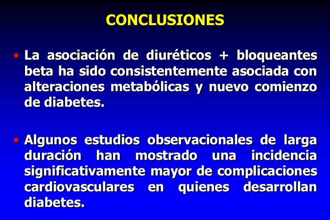 CONCLUSIONES La asociación de diuréticos + bloqueantes beta ha sido consistentemente asociada con alteraciones metabólicas y nuevo comienzo de diabete