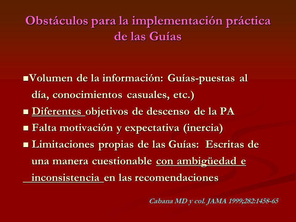Obstáculos para la implementación práctica de las Guías Volumen de la información: Guías-puestas al Volumen de la información: Guías-puestas al día, c