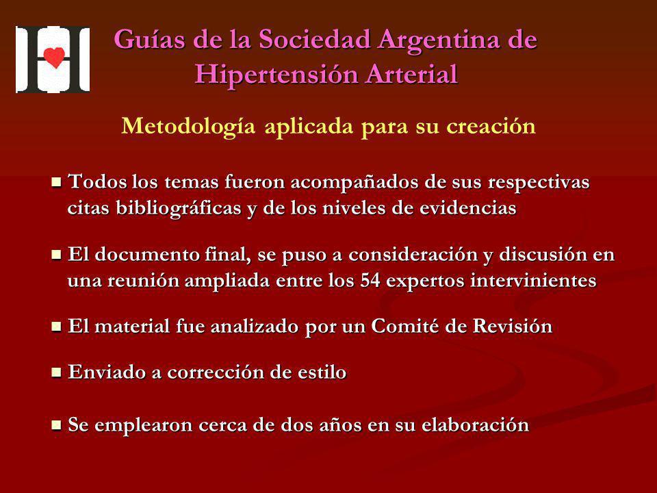 Guías de la Sociedad Argentina de Hipertensión Arterial Todos los temas fueron acompañados de sus respectivas Todos los temas fueron acompañados de su