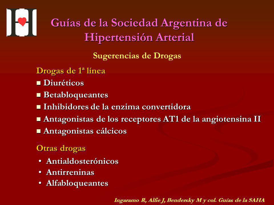 Guías de la Sociedad Argentina de Hipertensión Arterial Diuréticos Diuréticos Betabloqueantes Betabloqueantes Inhibidores de la enzima convertidora In