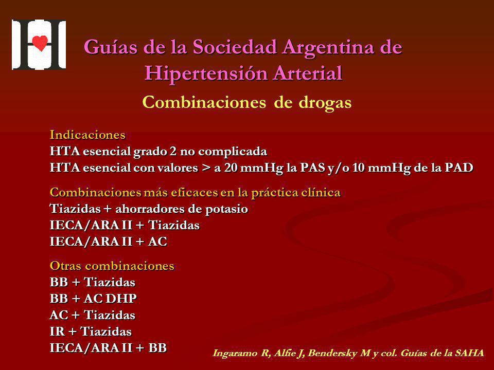 Guías de la Sociedad Argentina de Hipertensión Arterial Indicaciones HTA esencial grado 2 no complicada HTA esencial con valores > a 20 mmHg la PAS y/