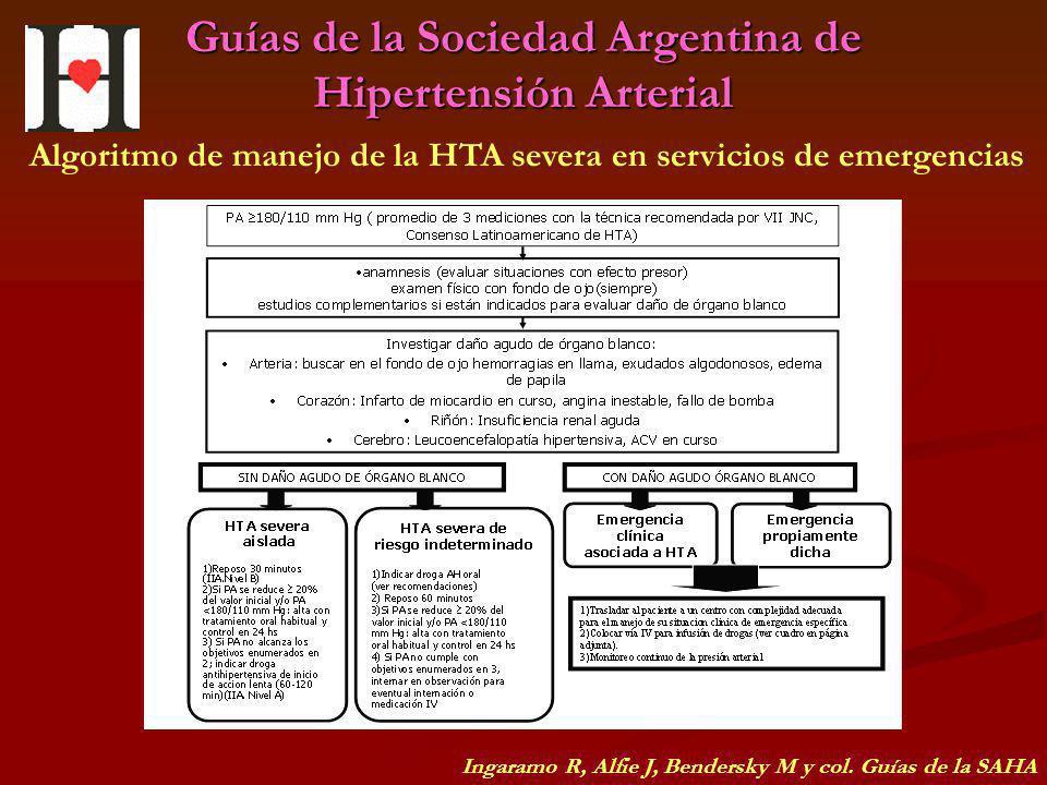 Guías de la Sociedad Argentina de Hipertensión Arterial Algoritmo de manejo de la HTA severa en servicios de emergencias Ingaramo R, Alfie J, Bendersk