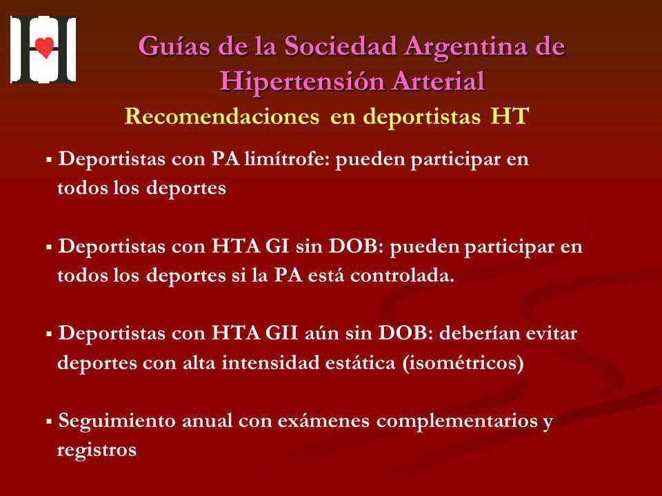 Guías de la Sociedad Argentina de Hipertensión Arterial Deportistas con PA limítrofe: pueden participar en todos los deportes Deportistas con HTA GI s