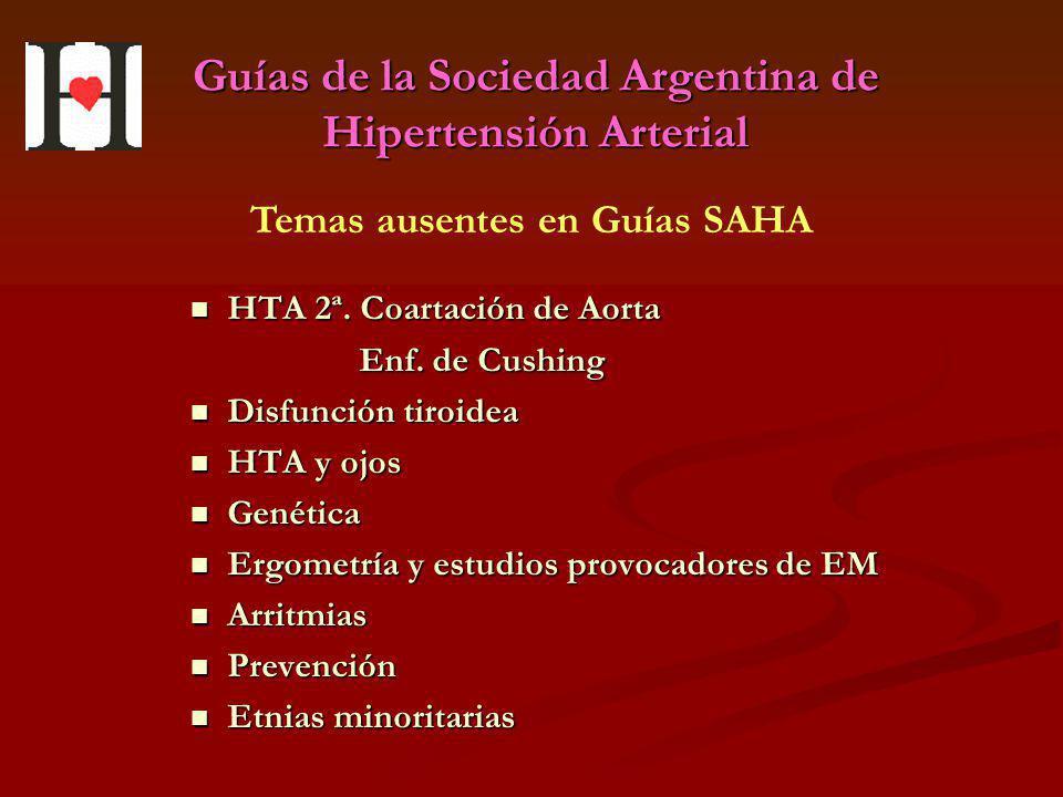 Guías de la Sociedad Argentina de Hipertensión Arterial HTA 2ª. Coartación de Aorta HTA 2ª. Coartación de Aorta Enf. de Cushing Enf. de Cushing Disfun