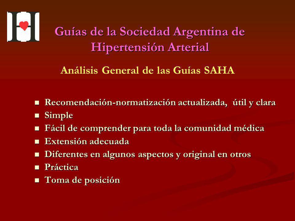 Guías de la Sociedad Argentina de Hipertensión Arterial Recomendación-normatización actualizada, útil y clara Recomendación-normatización actualizada,