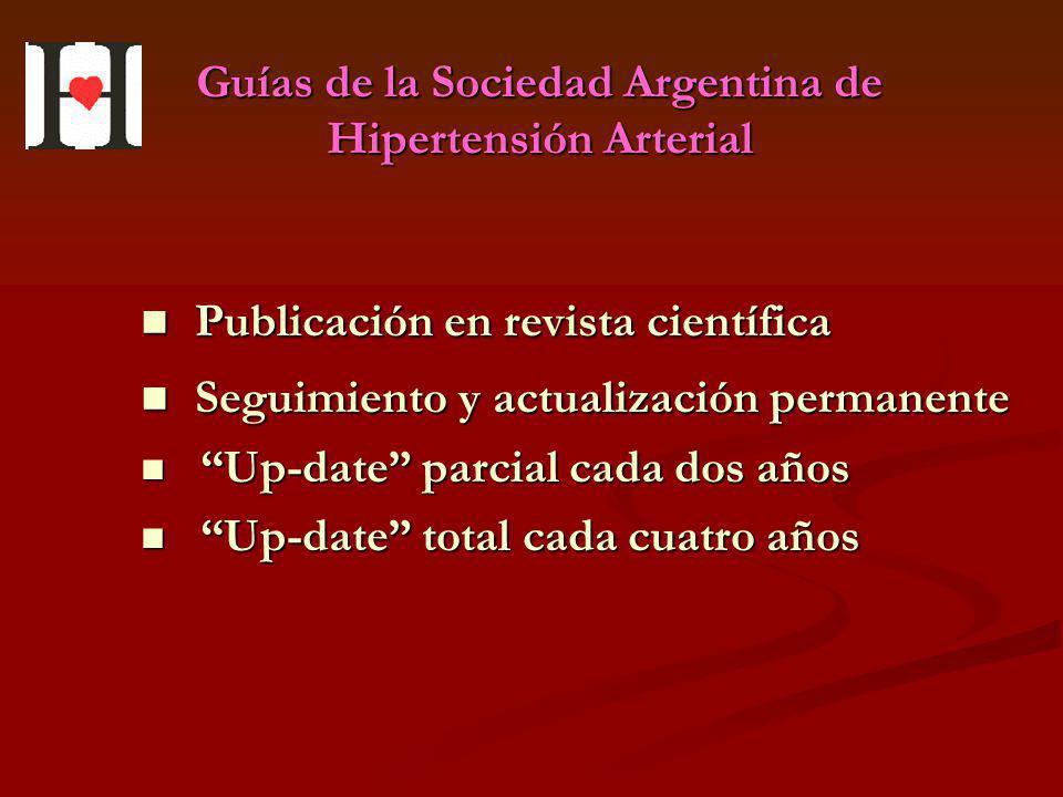 Guías de la Sociedad Argentina de Hipertensión Arterial Publicación en revista científica Publicación en revista científica Seguimiento y actualizació