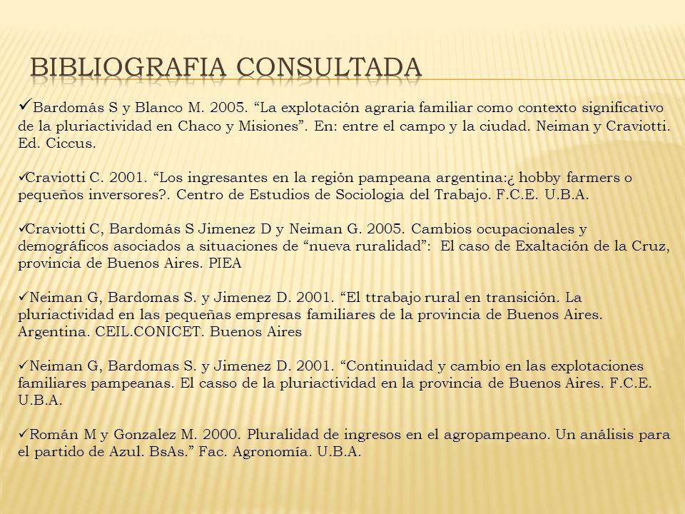 Bardomás S y Blanco M. 2005.