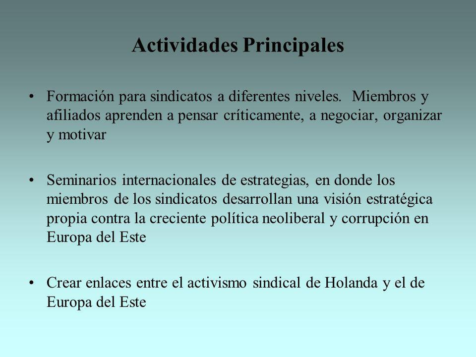 Actividades Principales Formación para sindicatos a diferentes niveles. Miembros y afiliados aprenden a pensar críticamente, a negociar, organizar y m