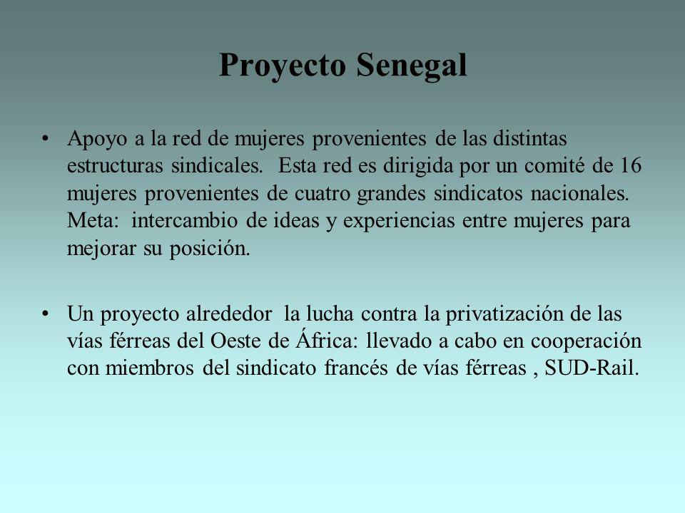 Proyecto Senegal Apoyo a la red de mujeres provenientes de las distintas estructuras sindicales. Esta red es dirigida por un comité de 16 mujeres prov