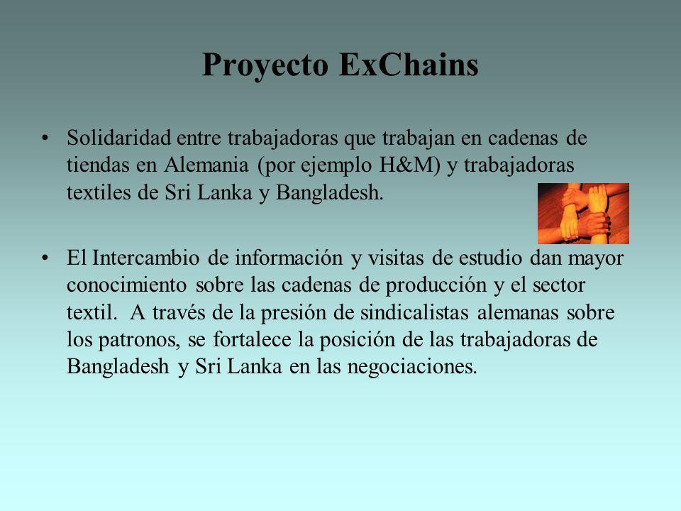 Proyecto ExChains Solidaridad entre trabajadoras que trabajan en cadenas de tiendas en Alemania (por ejemplo H&M) y trabajadoras textiles de Sri Lanka