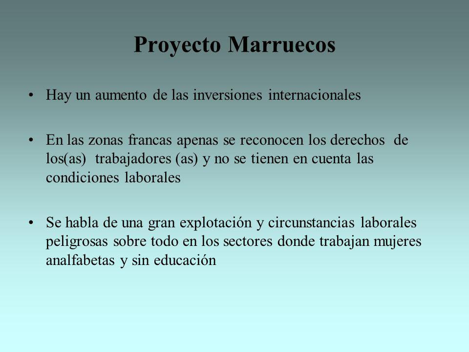 Proyecto Marruecos Hay un aumento de las inversiones internacionales En las zonas francas apenas se reconocen los derechos de los(as) trabajadores (as
