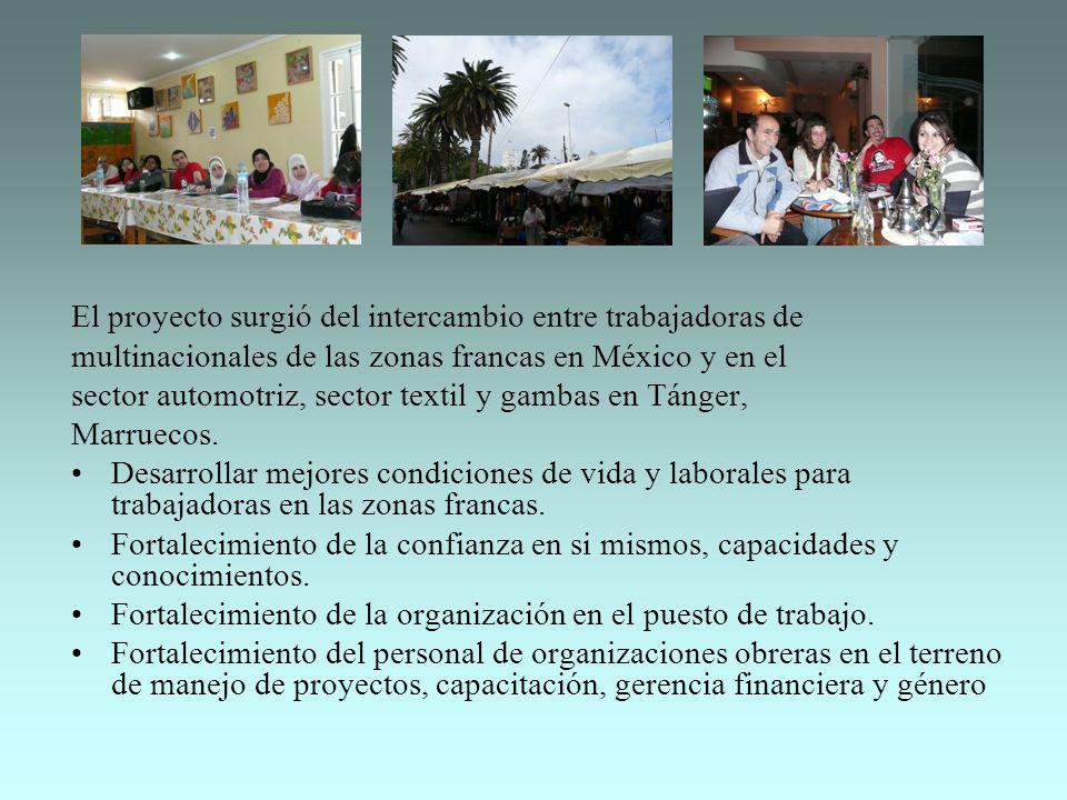 El proyecto surgió del intercambio entre trabajadoras de multinacionales de las zonas francas en México y en el sector automotriz, sector textil y gam