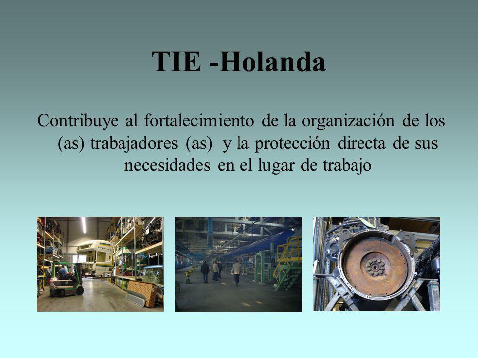 TIE -Holanda Contribuye al fortalecimiento de la organización de los (as) trabajadores (as) y la protección directa de sus necesidades en el lugar de