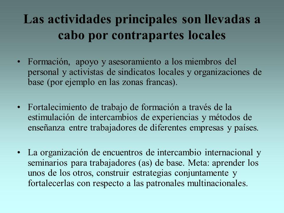 Las actividades principales son llevadas a cabo por contrapartes locales Formación, apoyo y asesoramiento a los miembros del personal y activistas de