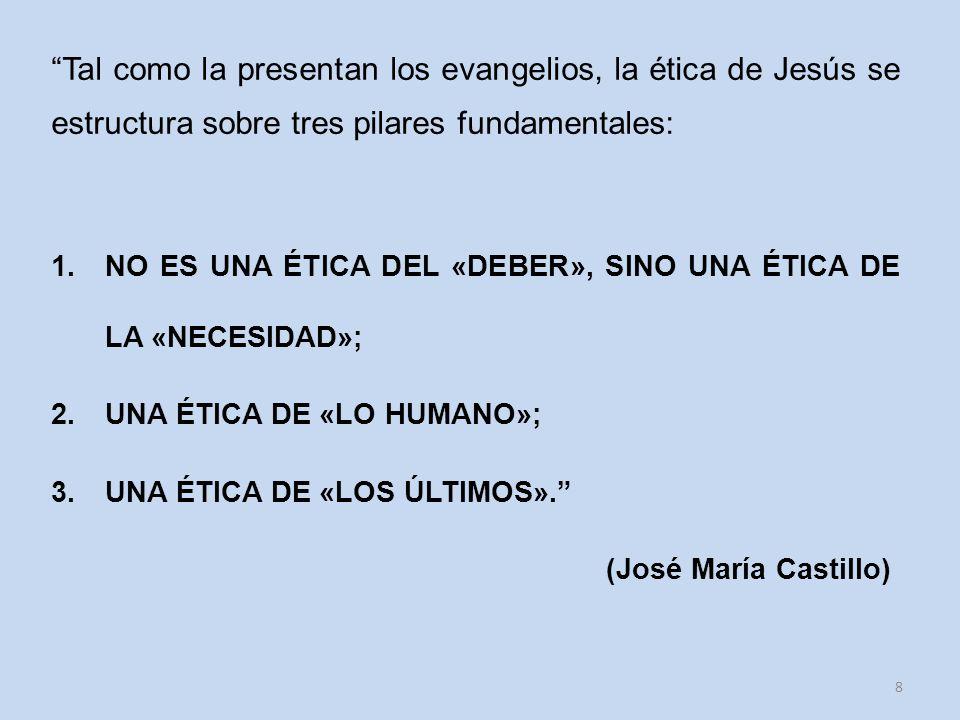 Tal como la presentan los evangelios, la ética de Jesús se estructura sobre tres pilares fundamentales: 1.NO ES UNA ÉTICA DEL «DEBER», SINO UNA ÉTICA DE LA «NECESIDAD»; 2.UNA ÉTICA DE «LO HUMANO»; 3.UNA ÉTICA DE «LOS ÚLTIMOS».