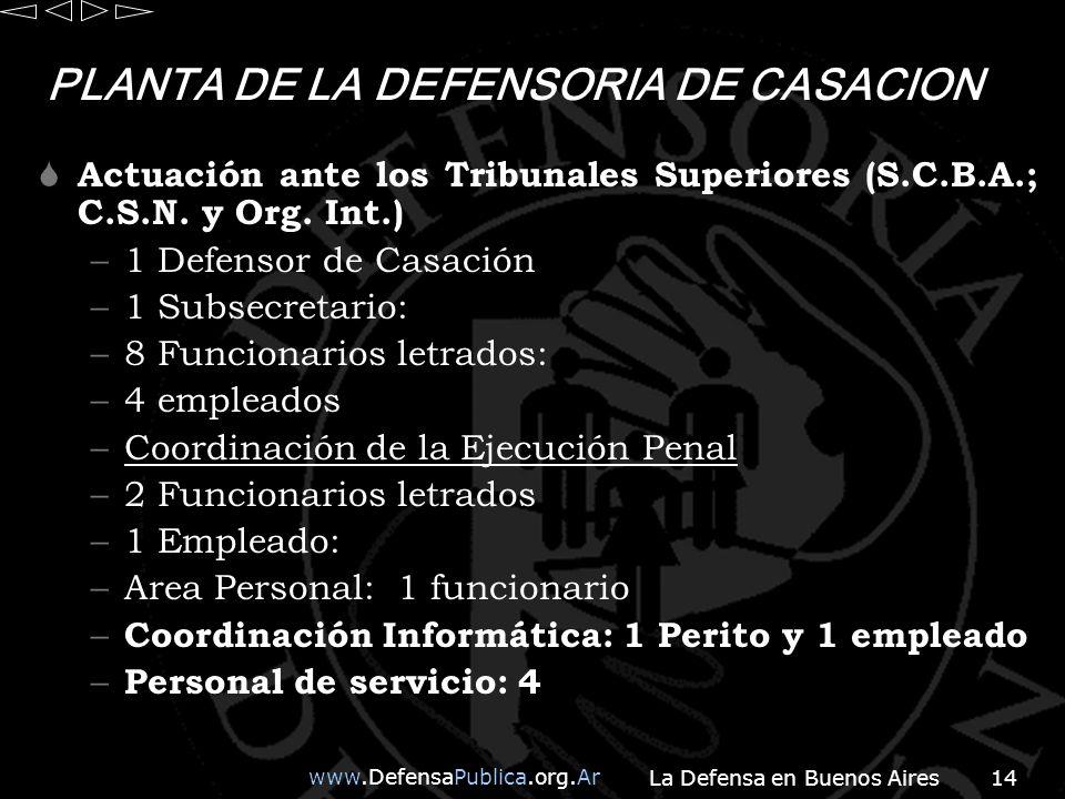 www.DefensaPublica.org.Ar La Defensa en Buenos Aires14 PLANTA DE LA DEFENSORIA DE CASACION Actuación ante los Tribunales Superiores (S.C.B.A.; C.S.N.