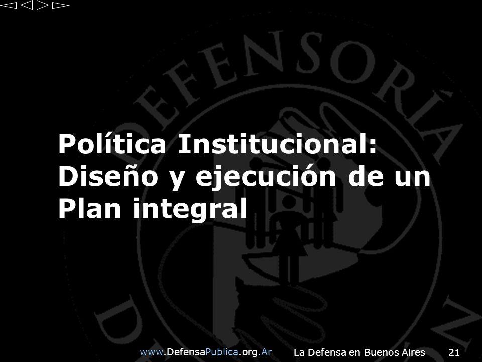 www.DefensaPublica.org.Ar La Defensa en Buenos Aires21 Política Institucional: Diseño y ejecución de un Plan integral