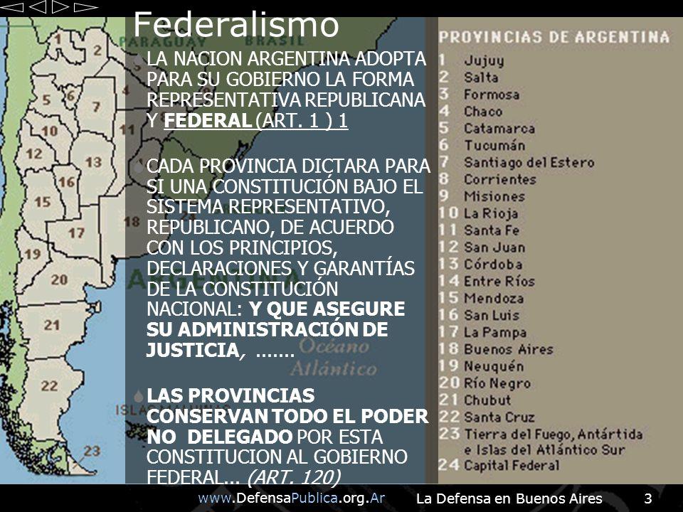 www.DefensaPublica.org.Ar La Defensa en Buenos Aires3 Federalismo LA NACION ARGENTINA ADOPTA PARA SU GOBIERNO LA FORMA REPRESENTATIVA REPUBLICANA Y FEDERAL (ART.