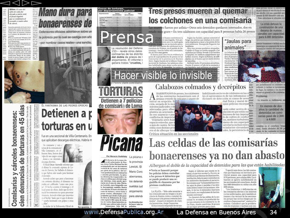 www.DefensaPublica.org.Ar La Defensa en Buenos Aires34 Hacer visible lo invisible Prensa