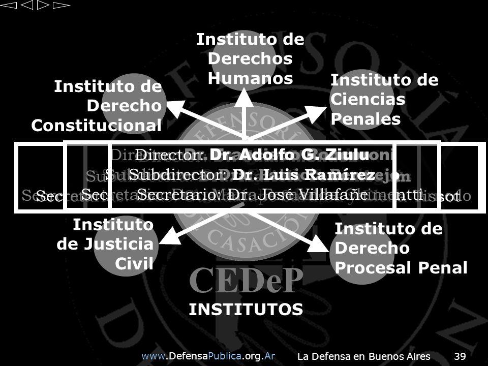 www.DefensaPublica.org.Ar La Defensa en Buenos Aires39 CEDeP INSTITUTOS Director: Dr.