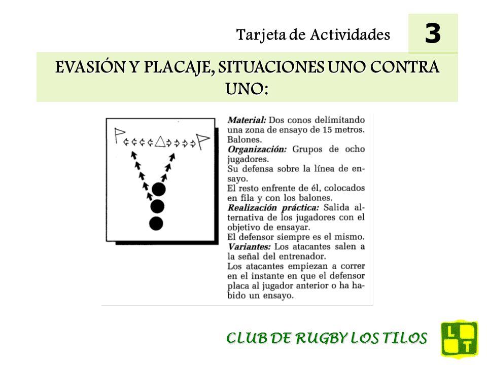 Tarjeta de Actividades EVASIÓN Y PLACAJE, SITUACIONES UNO CONTRA UNO: 3 CLUB DE RUGBY LOS TILOS