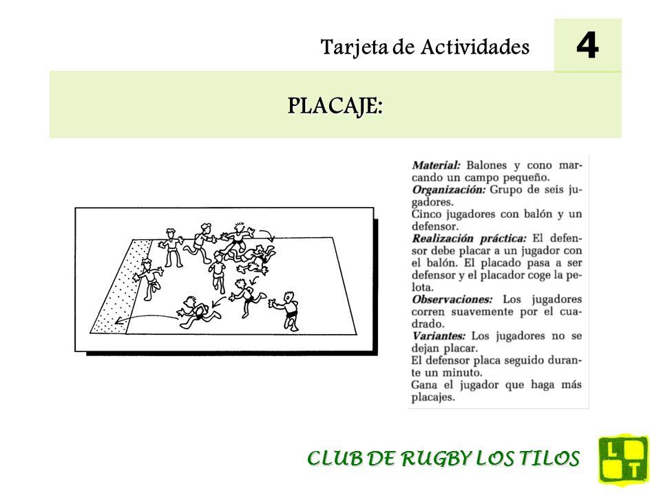 Tarjeta de Actividades ADAPTACIÓN AL CONTACTO: 5 CLUB DE RUGBY LOS TILOS