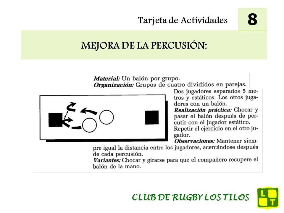 Tarjeta de Actividades MEJORA DE LA PERCUSIÓN: 8 CLUB DE RUGBY LOS TILOS