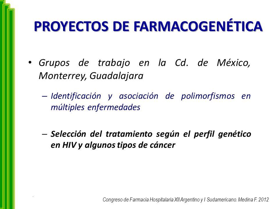 PROYECTOS DE FARMACOGENÉTICA Grupos de trabajo en la Cd. de México, Monterrey, Guadalajara – Identificación y asociación de polimorfismos en múltiples