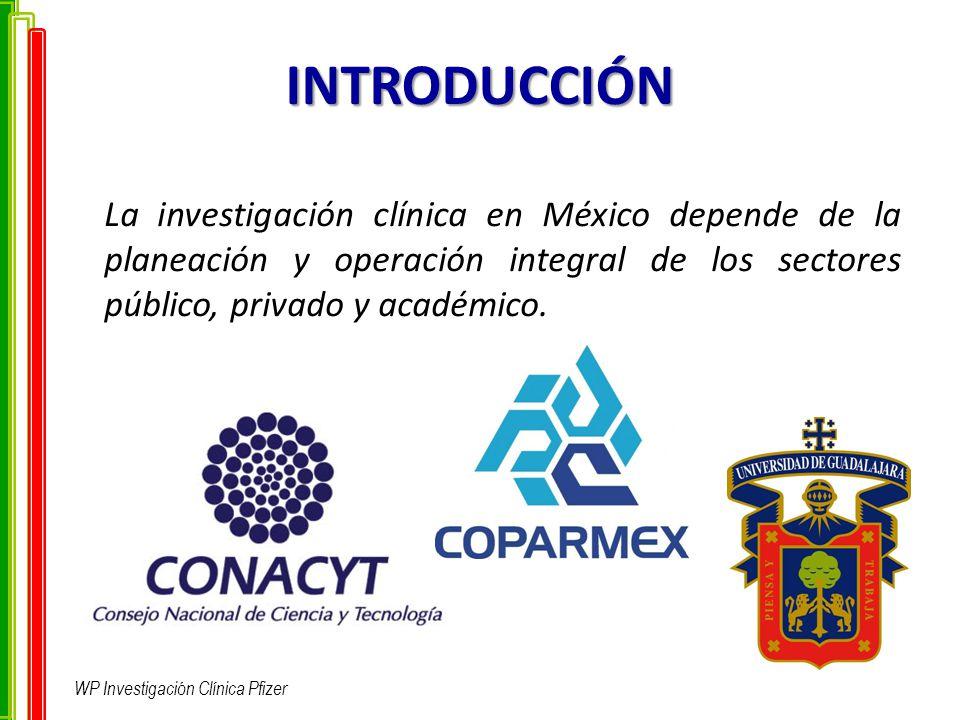INTRODUCCIÓN La investigación clínica en México depende de la planeación y operación integral de los sectores público, privado y académico. WP Investi