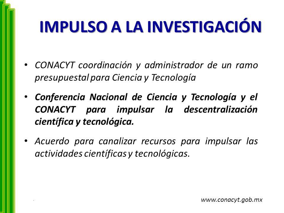 IMPULSO A LA INVESTIGACIÓN CONACYT coordinación y administrador de un ramo presupuestal para Ciencia y Tecnología Conferencia Nacional de Ciencia y Te