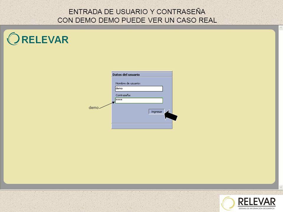 demo ENTRADA DE USUARIO Y CONTRASEÑA CON DEMO DEMO PUEDE VER UN CASO REAL
