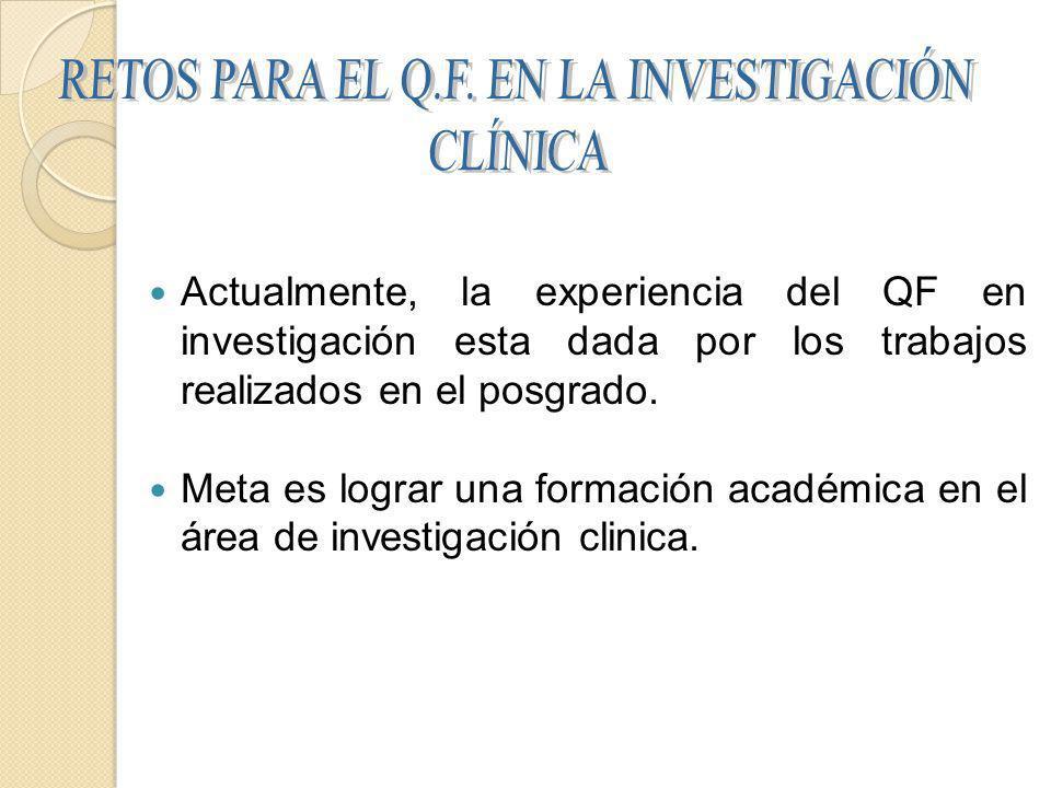 Actualmente, la experiencia del QF en investigación esta dada por los trabajos realizados en el posgrado.