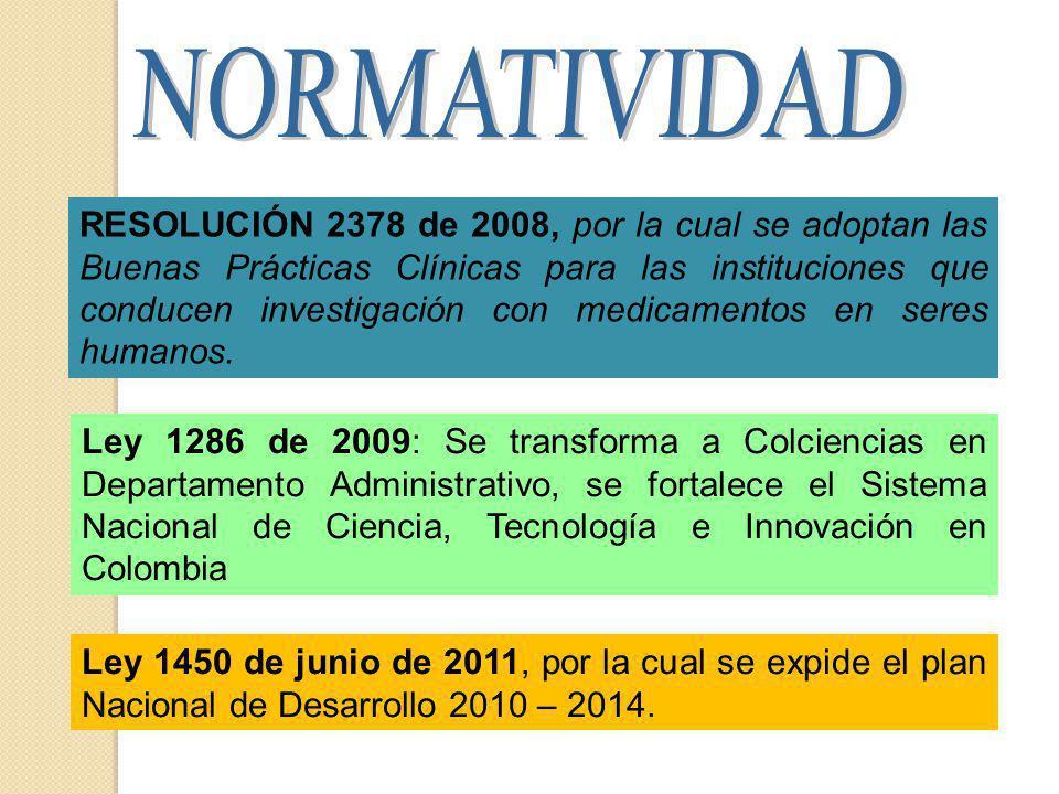 Ley 1286 de 2009: Se transforma a Colciencias en Departamento Administrativo, se fortalece el Sistema Nacional de Ciencia, Tecnología e Innovación en Colombia Ley 1450 de junio de 2011, por la cual se expide el plan Nacional de Desarrollo 2010 – 2014.