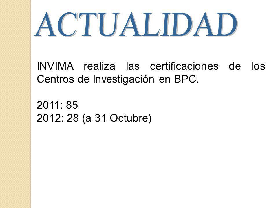 INVIMA realiza las certificaciones de los Centros de Investigación en BPC.