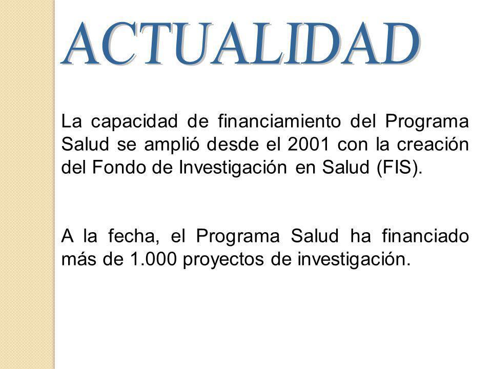 La capacidad de financiamiento del Programa Salud se amplió desde el 2001 con la creación del Fondo de Investigación en Salud (FIS).