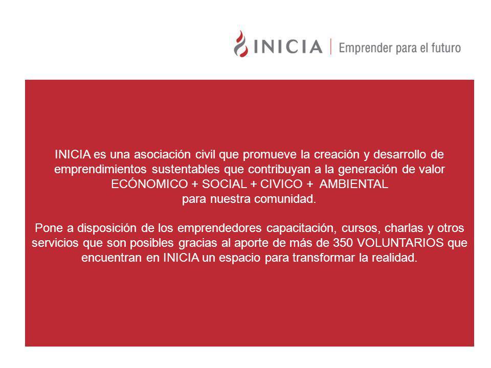 INICIA es una asociación civil que promueve la creación y desarrollo de emprendimientos sustentables que contribuyan a la generación de valor ECÓNOMICO + SOCIAL + CIVICO + AMBIENTAL para nuestra comunidad.