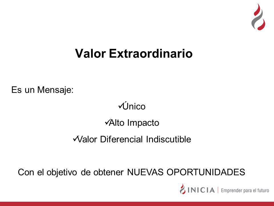 Valor Extraordinario Es un Mensaje: Único Alto Impacto Valor Diferencial Indiscutible Con el objetivo de obtener NUEVAS OPORTUNIDADES