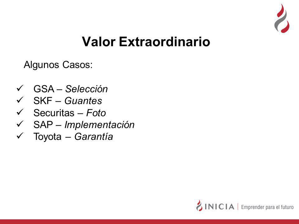 Valor Extraordinario Algunos Casos: GSA – Selección SKF – Guantes Securitas – Foto SAP – Implementación Toyota – Garantía