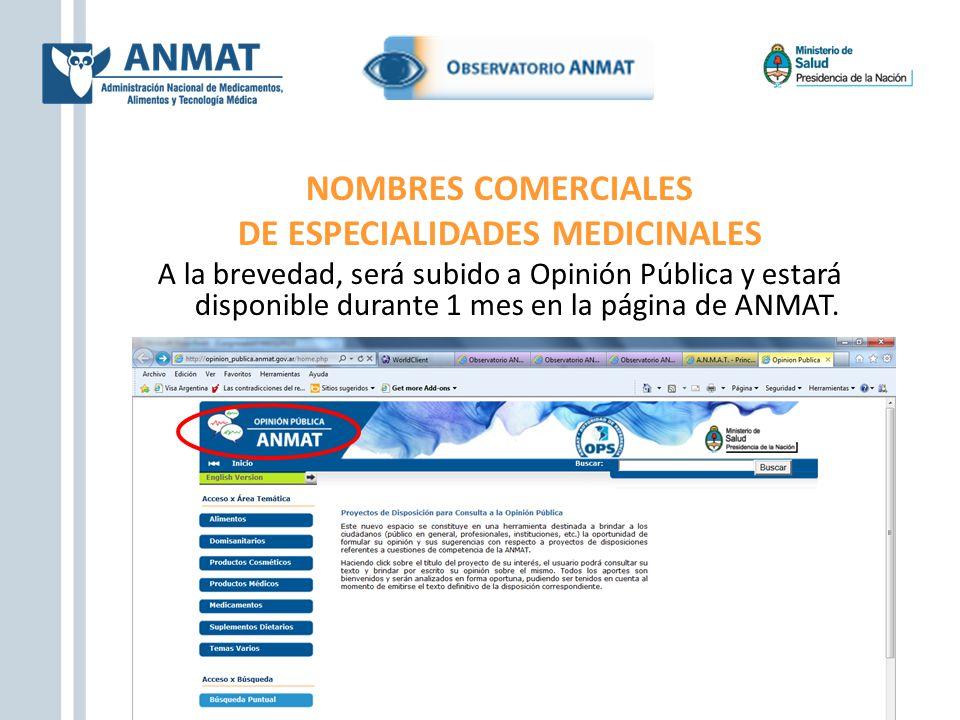 NOMBRES COMERCIALES DE ESPECIALIDADES MEDICINALES A la brevedad, será subido a Opinión Pública y estará disponible durante 1 mes en la página de ANMAT