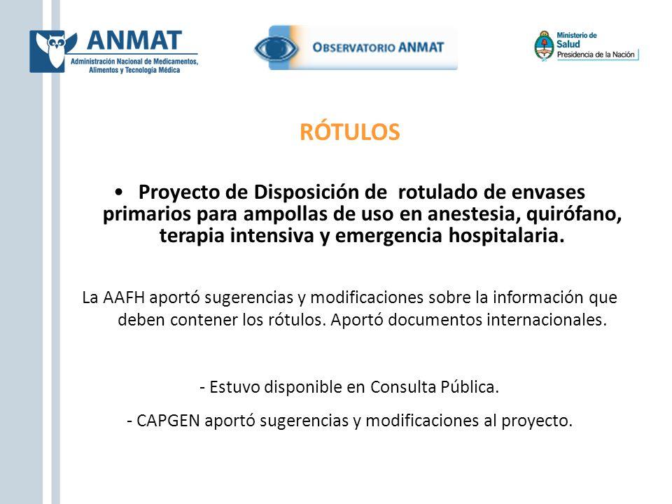 RÓTULOS Proyecto de Disposición de rotulado de envases primarios para ampollas de uso en anestesia, quirófano, terapia intensiva y emergencia hospital